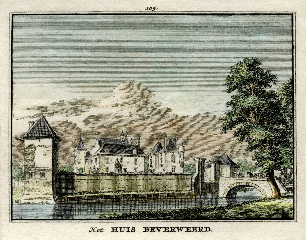 Kasteel Beverweerd in Werkhoven. Tekening Jan de Beijer, gravure Hendrik Spilman (Uit: Het Verheerlykt Nederland, Isaac Tirion, 1745/1774)